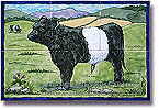 Belted Galloway calf tile-panel