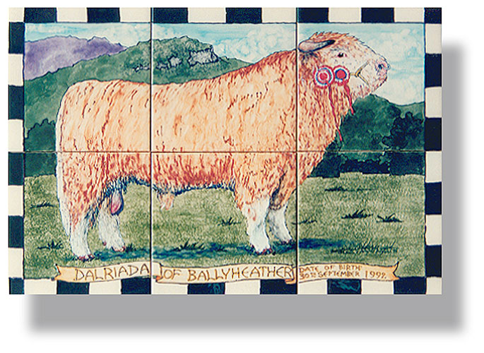 Prize Highland bull tile panel Dalriada of Ballyheather