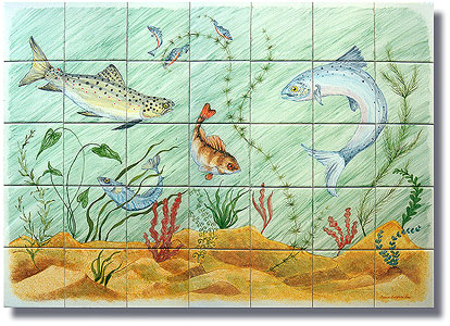 swimming fish tile panel