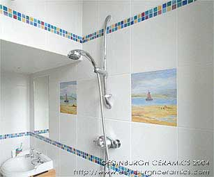 bathroom with handpainted ceramic tiles and mosaic tiles