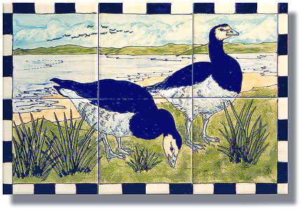 Barnacle geese tile panel
