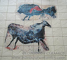 cave-painting tiles: bison & cow