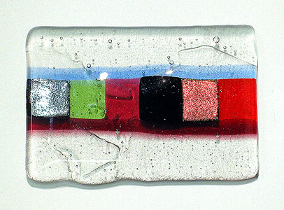 sample of fused glass: dichroic glass, clear glass and coloured glass