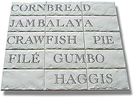 crawfish pie and haggis, digital ceramic tiles