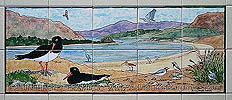 oystercatchers and other seabirds fireplace tiles