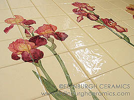 handpainted tile panel, irises