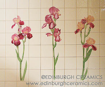 handpainted iris tiles
