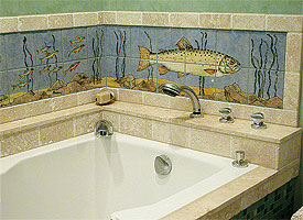 handpainted ceramic mural backsplash