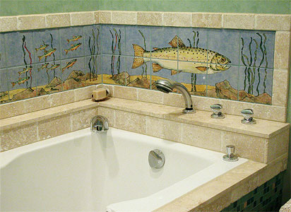 Swimming Trout Ceramic Backsplash Tiles