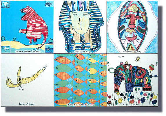 six ceramic tiles created from childrens artwork