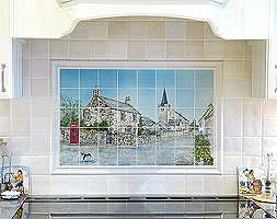 handpainted ceramic tile panel over hob