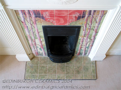close-up of fireplace tiles