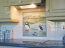 ceramic tile panel, Puffins and view of Cuillin, Isle of Skye