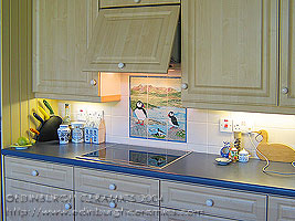 view of kitchen with tile panel over hob