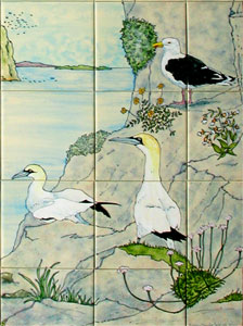 bathroom ceramic tiles Bass Rock and seabirds detail
