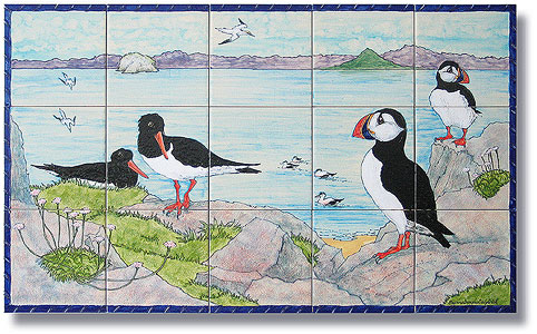 Seabirds tile and Firth of Forth tile-panel