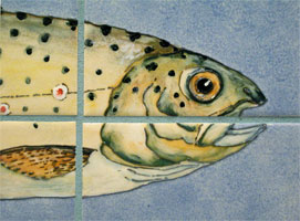 detail of handpainted trout tiles