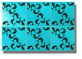 fireplace tiles turquoise tiles with printed fish