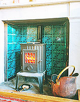 handprinted turquoise tiles, stove