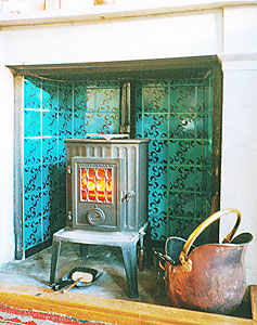fireplace tiles turquoise tiles, stove
