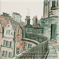handpainted ceramic tile old town Edinburgh buildings