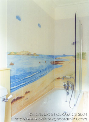 bathroom tiles handpainted tile mural beachscene